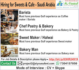 Sweet & Café hiring for Saudi Arabia