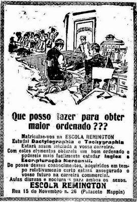 Propaganda da Escola Remington de Datilografia apresentada em 1917 que argumentava às pessoas a melhoria no salário.