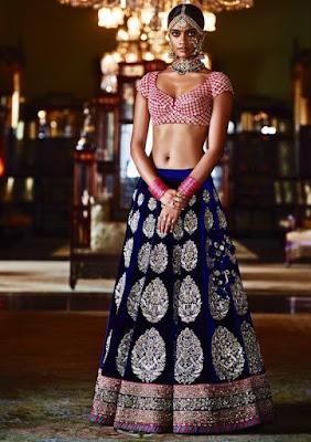 Beautiful Dusky Indian Model Girl In Stylish Blue And Pink Lehenga Blouse.