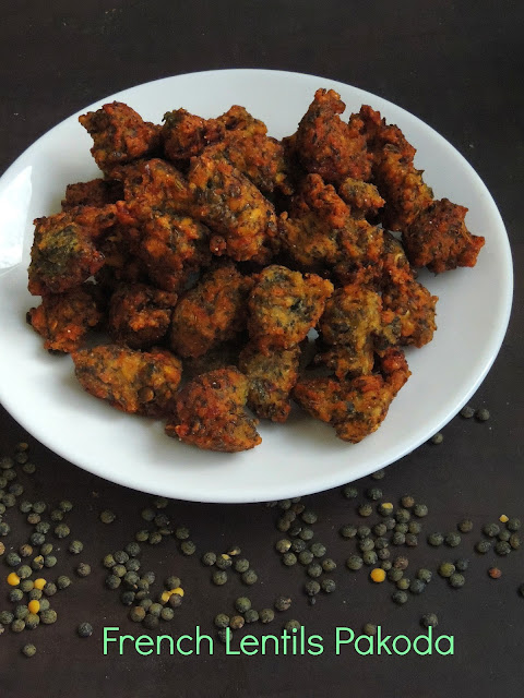 French Lentils Pakoda, Pakoda with Green Lentils
