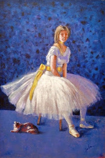 "Acrylic painting on 20"" x 30"" canvas of ballerina  by George Zantua"