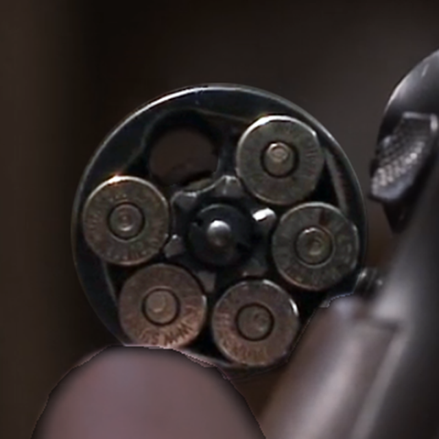 closeup of revolver cylinder