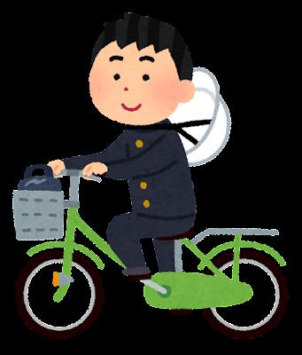 ヘルメットを首にかけて自転車通学する学生のイラスト(男子)