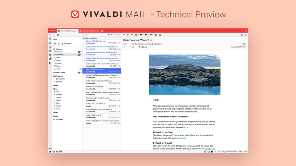 Browser web Vivaldi sekarang memiliki klien email bawaan