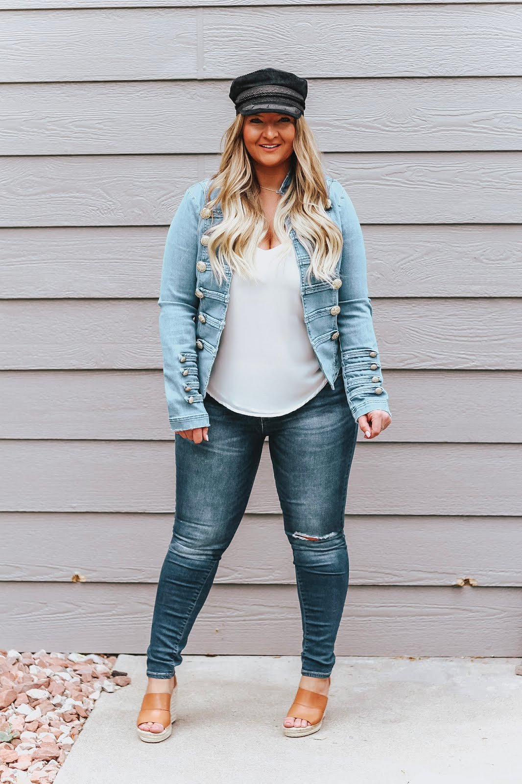 Denim on Denim outfit featured on top Denver fashion blog, Delayna Denaye