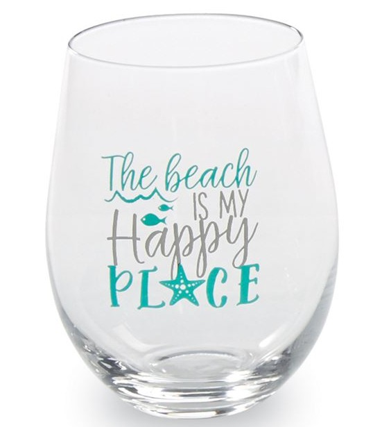 Happy Place Beach Wine Glasses