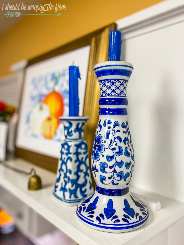 Blue and white candlesticks