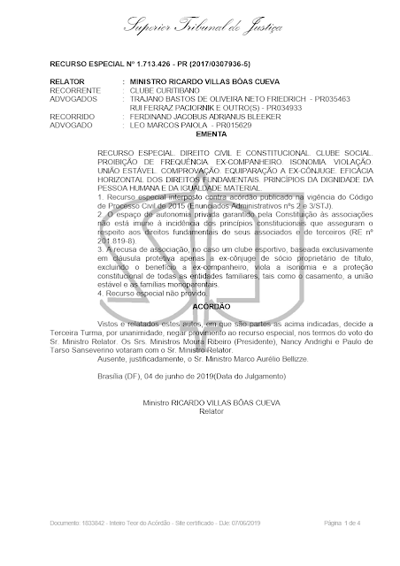 STJ: BENEFÍCIOS ASSOCIATIVOS CONCEDIDOS A EX-CÔNJUGES DEVEM SER ESTENDIDOS A EX-COMPANHEIROS