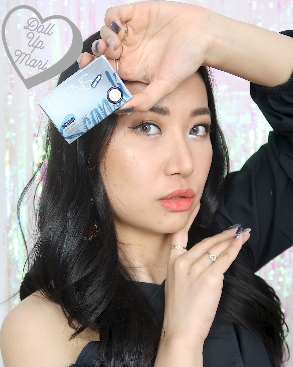dollupmari wearing OLens Scandi Light Gray BlackPink Contact Lenses