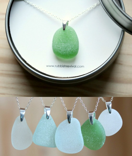 Genuine Seaglass Pendant Necklaces in a Variety of Colors