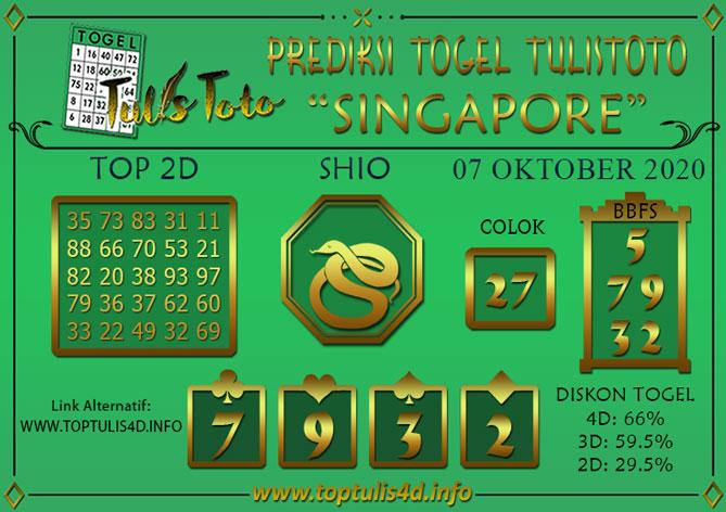 Prediksi Togel SINGAPORE TULISTOTO 07 OKTOBER 2020