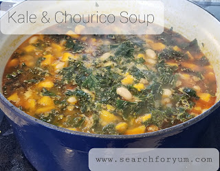 Kale, Chourico and Sweet Potato Soup in Dutch Oven