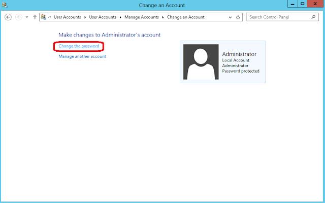 change the password windows