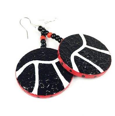 Red, white and black pi earrings