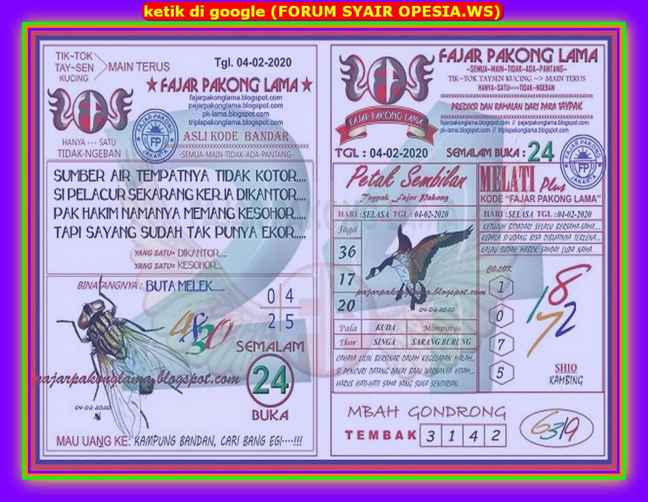 Kode syair Hongkong Selasa 4 Februari 2020 60