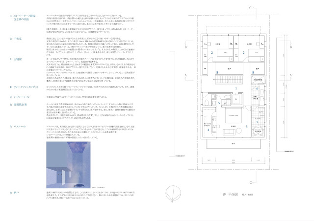 鈍い光沢を放つ金属板のなかに雲のような広がりを持つ家 平面計画2階