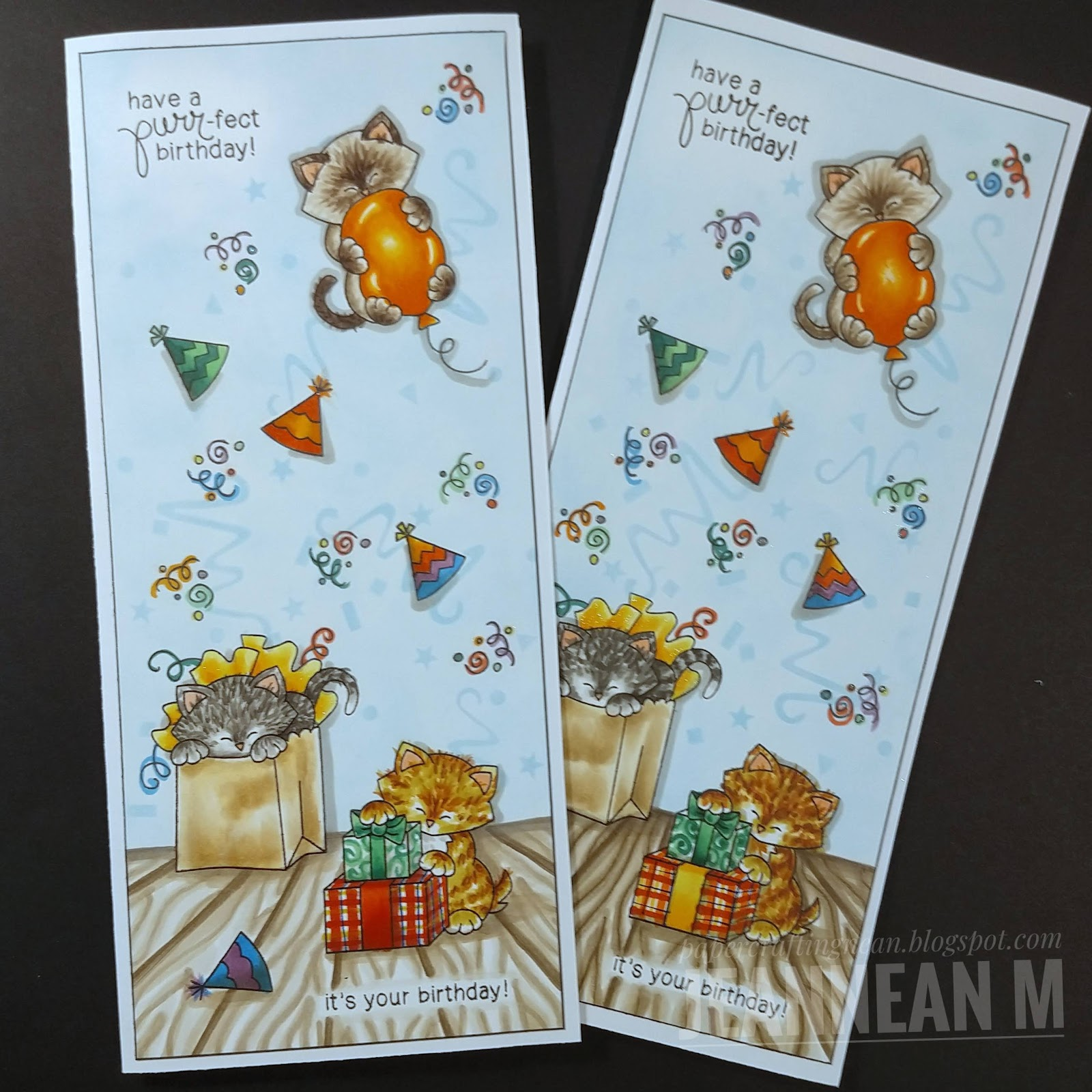 Purr-ect Birthday Card by May Guest Designer Jeannean Marshall   Newton's Birthday Bash Stamp Set by Newton's Nook Designs #newtonsnook #handmade