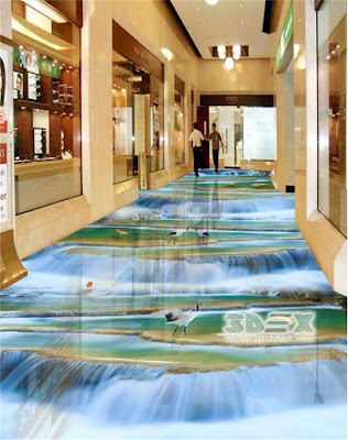 3D hallway flooring for mall corridor