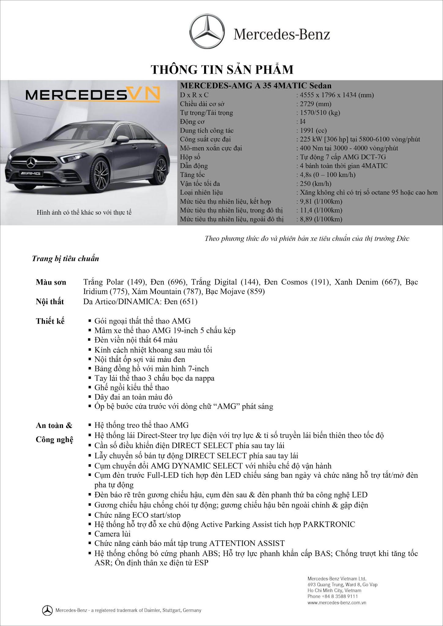 Bảng thông số kỹ thuật Mercedes AMG A35 4MATIC Sedan 2021 tại Mercedes Trường Chinh