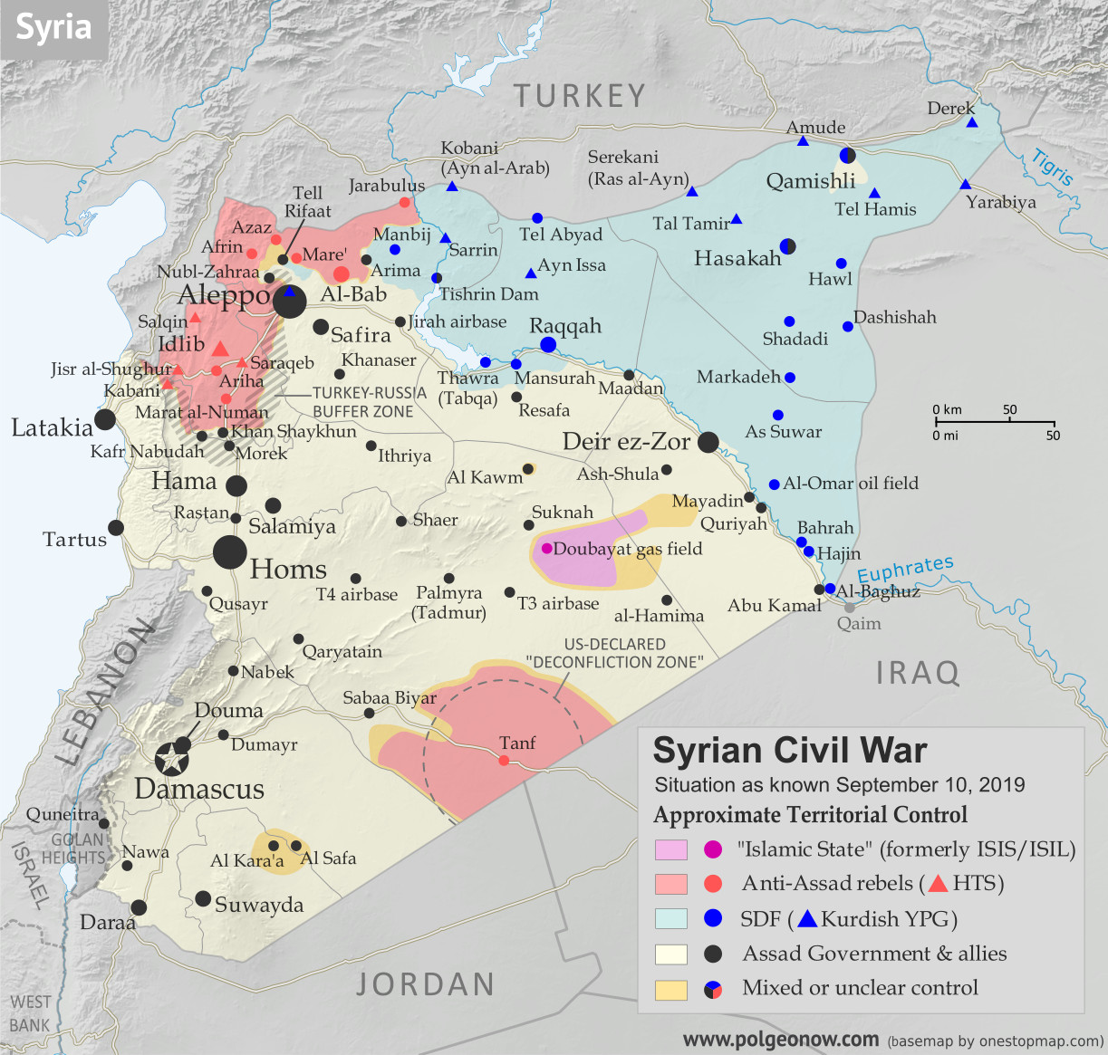 Map of Syrian Civil War (Syria control map): Territorial control in Syria in September 2019 (Free Syrian Army rebels, Kurdish YPG, Syrian Democratic Forces (SDF), Hayat Tahrir al-Sham (HTS / Al-Nusra Front), Islamic State (ISIS/ISIL), and others). Includes US deconfliction zone and Turkey-Russia demilitarized buffer zone, plus recent locations of conflict and territorial control changes, including Khan Shaykhun, Kabani, Morek, and more. Colorblind accessible.