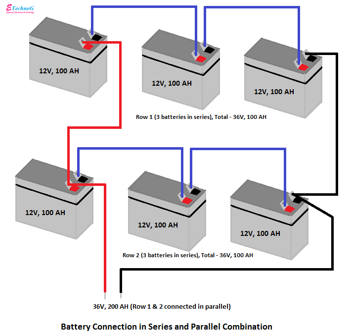 connection of batteries in series and parallel