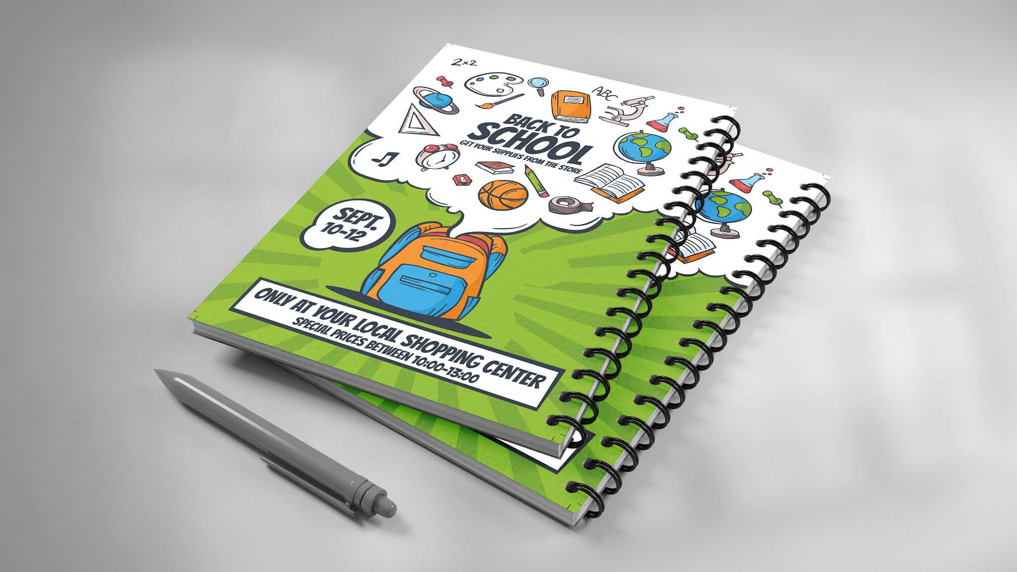 Download a book cover and a memo for schools PSD, suitable for a wonderful green color flyer poster