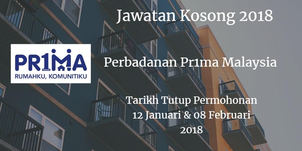 Jawatan Kosong Perbadanan Pr1ma Malaysia 12 Januari - 08 Februari 2018