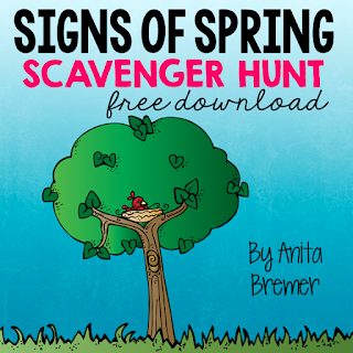 FREE Signs of Spring Scavenger Hunt Do you take your students outdoors to learn? You should! Students LOVE exploring nature! In this activity, students will search for spring items on the list. Take learning outside! #freebies #seasons #science #kindergarten #1stgrade #spring