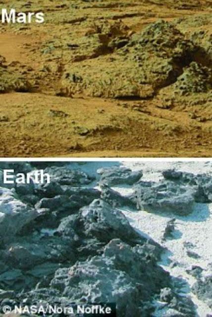 comparação da marte e a terra