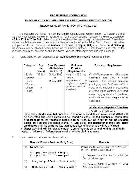 Indian Army Open Recruitment (Bharti) for Nepali