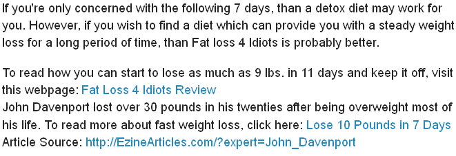A diet for seven days is essentially an effort little time to lose as much  weight as possible in a week. However, it is nothing more than a way to  lose ...