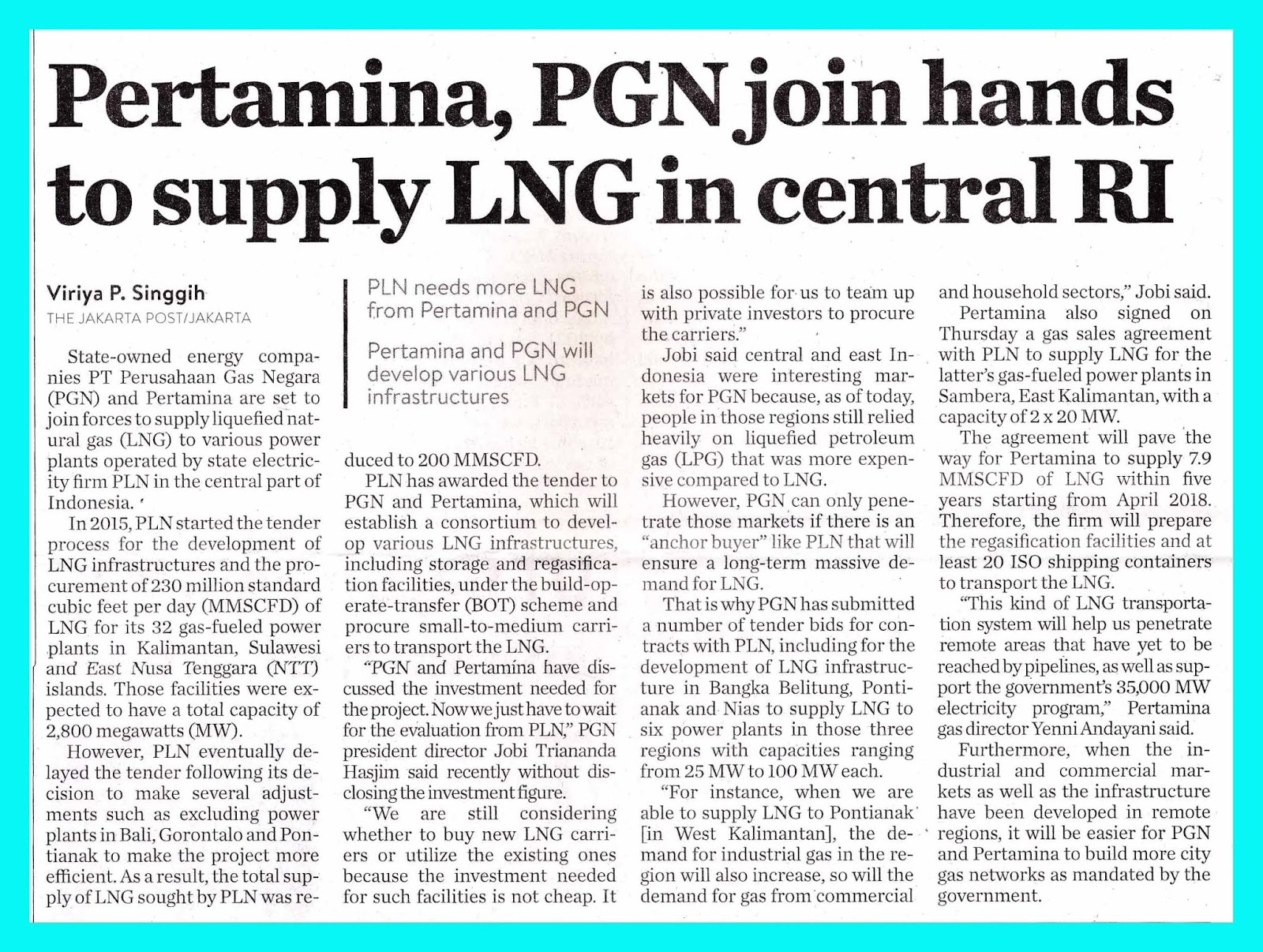 Pertamina, PGN join hands to supply LNG in central Republic