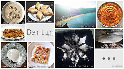 Bartın'ın meşhur şeylerini gösteren resimlerden oluşan kolaj