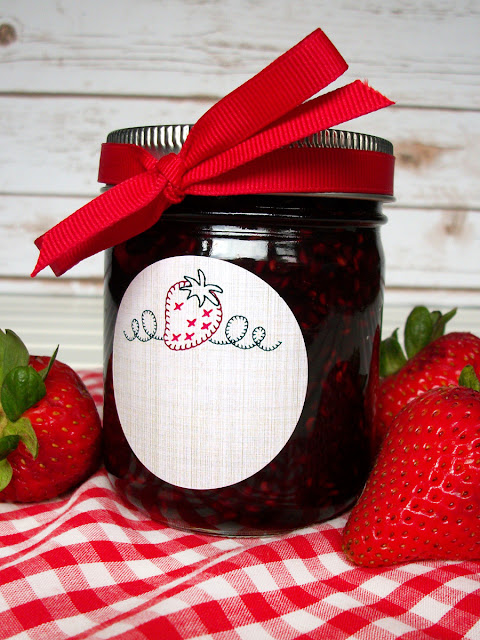 embroidered strawberry canning label