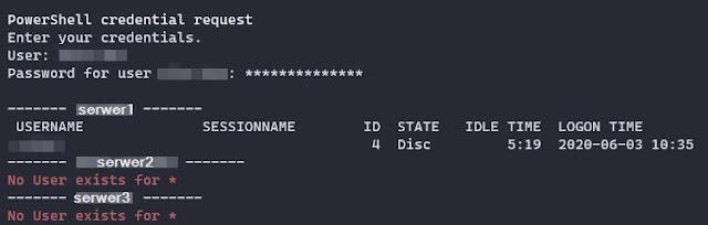 Screen z wynikiem działania skryptu Get-UserLoggedOnRemoteComputer
