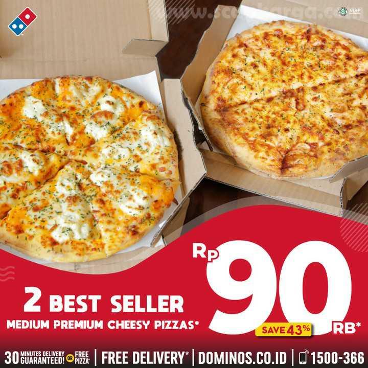 Dominos Pizza Promo 2 BEST SELLERS MEDIUM Premium Cheesy Pizza CUMA 90rb Juli 2020