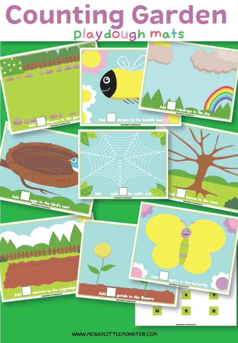 Printable number playdough mats for preschoolers.