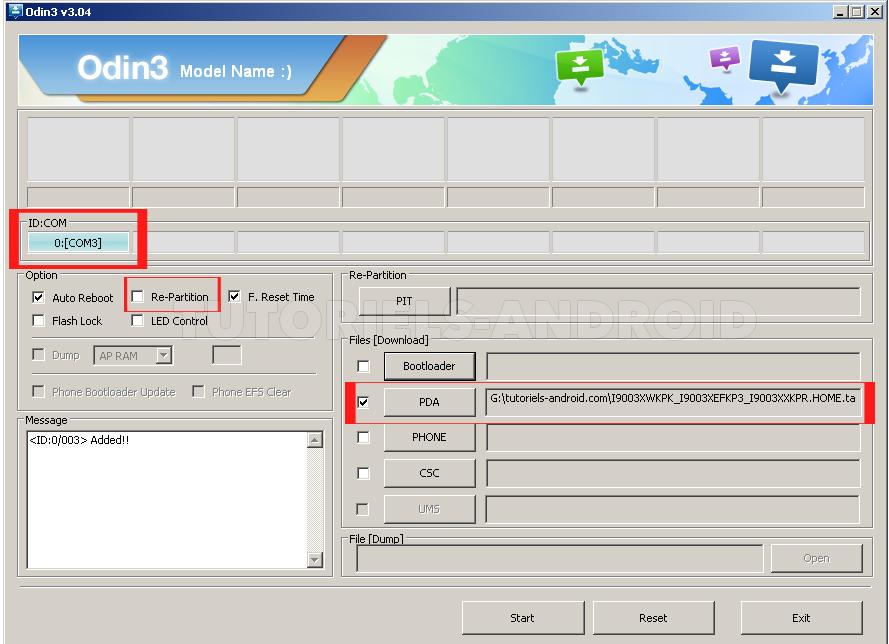 ODIN : installer le fichier TAR du firmware I9003XWKPK