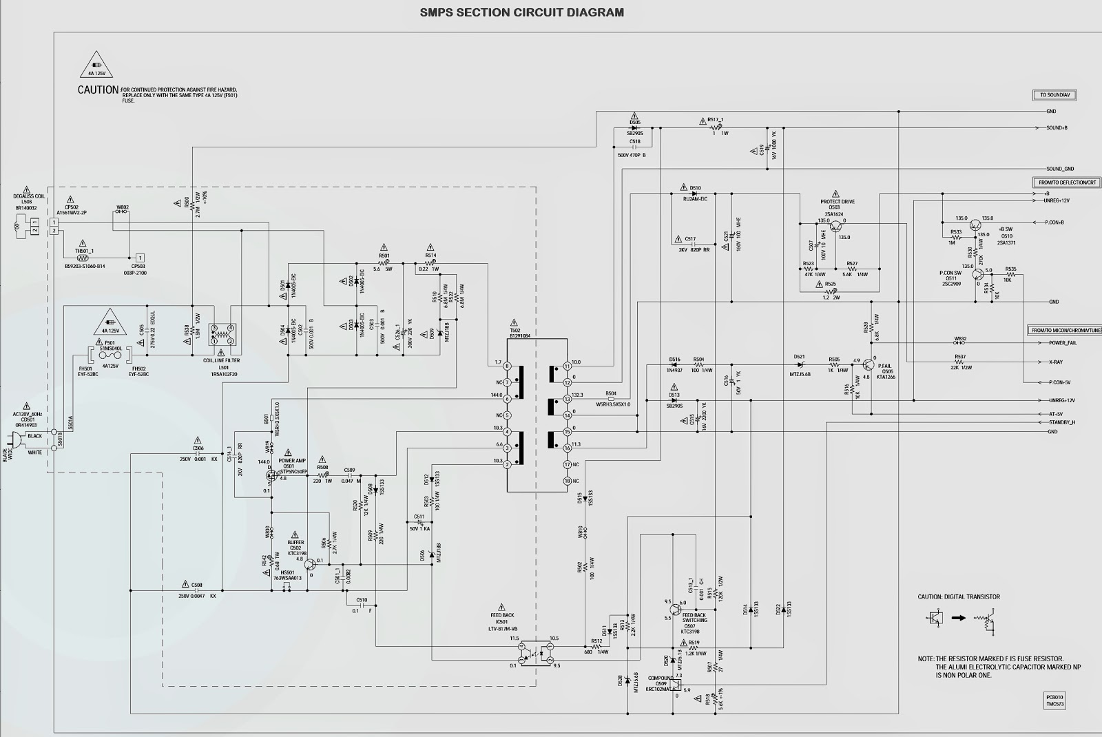 Panasonic Ct Z1423 Circuit Diagram Schematic Smps Horizontal L Filter Power Supply