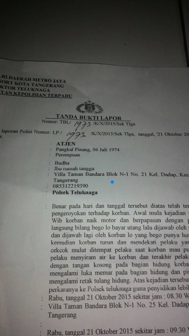Hari Ke-4 Pengeroyokan dan Penganiayaan terhadap Relawan Jokowi, Polsek Teluk Naga tak kunjung memanggil pelaku.