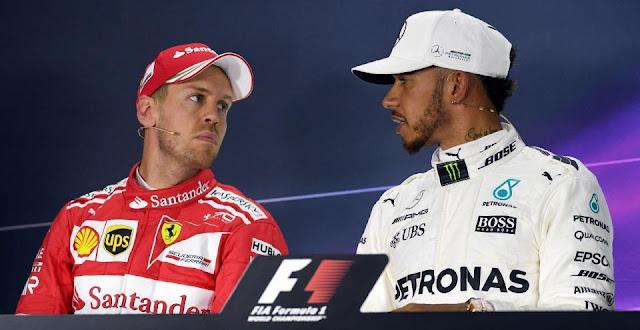 S Vettel and L. Hamilton
