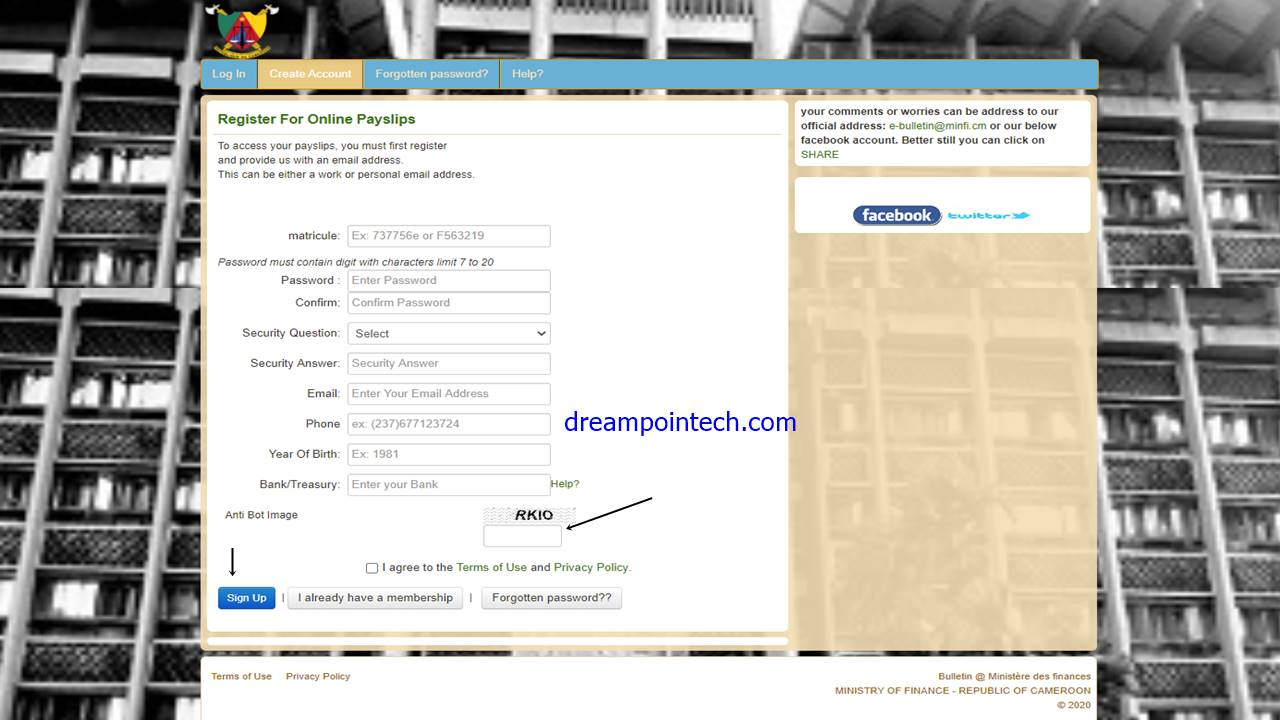 Résolvez le code captcha et cliquez sur le bouton soumettre pour créer votre compte de bulletin de solde en ligne.