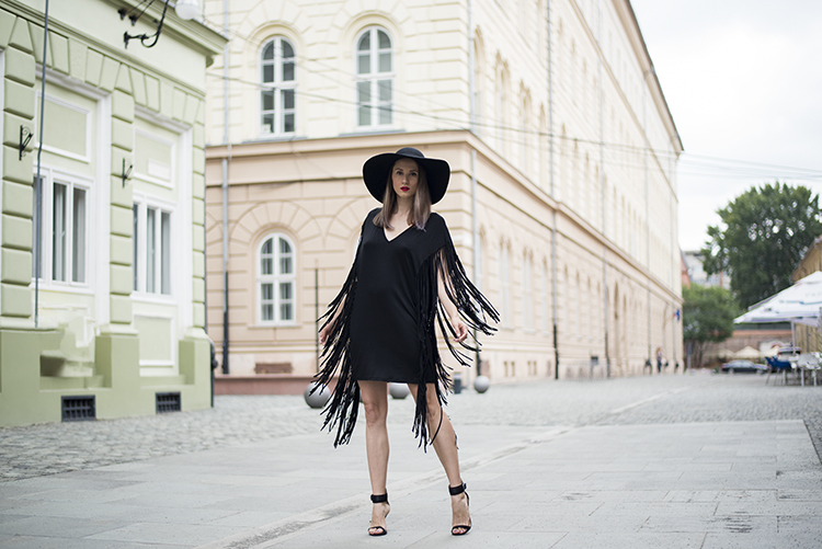 black plunging fringe dress