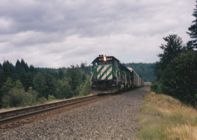 Burlington Northern SD40-2 #8017 at North Bonneville, Washington, on June 7, 1997