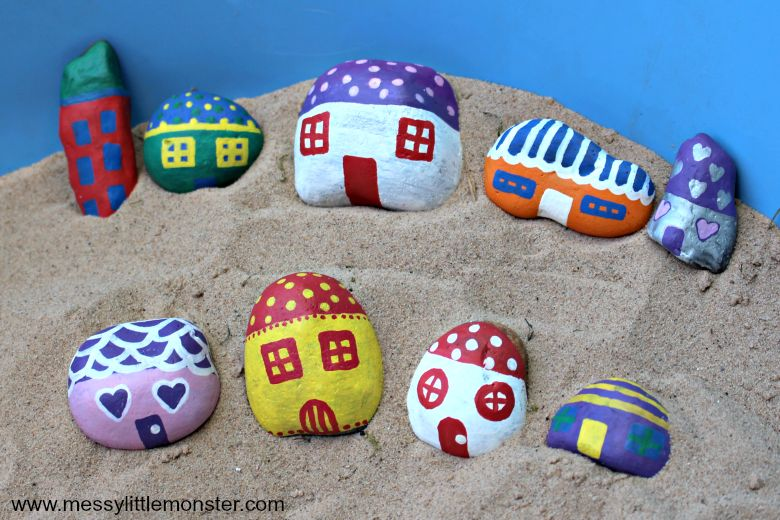 fairy house rock painting ideas