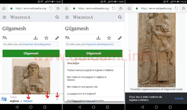 Microsoft Edge per Android con popup funzione Traduci pagina web