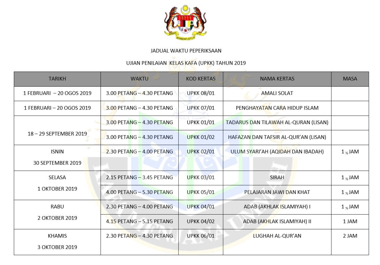 Jadual Waktu Peperiksaan Upkk 2019 Persatuan Guru Guru Sar Kafa Daerah Kuantan