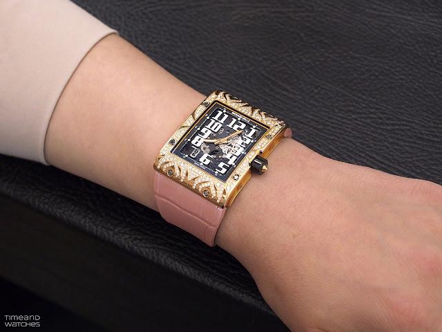 Wristshot of the Richard Mille RM 016 Automatic Extra Flat Diamond Set