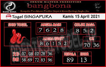 Prediksi Bangbona SGP Kamis 15 April 2021