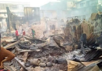 Goods Worth Millions Of Naira Destroyed As Fire Guts Amobi Market In Onitsha (Photos)